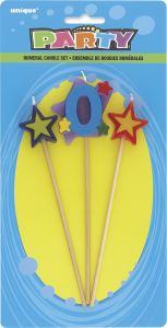 Number 0 Cake Topper Candle With stars