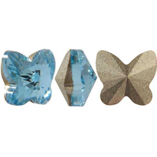 SWAROVSKI 4748 RIVOLI BUTTERFLY FANCY STONE AQUAMARINE 5MM (4 Pieces)