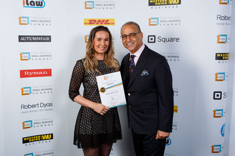 SBS Winner Kate Chesters with Dragons Den Entrepreneur Theo Paphitis