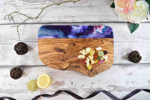 Unique Cutting Board Guide - Olive Wood Resin Art