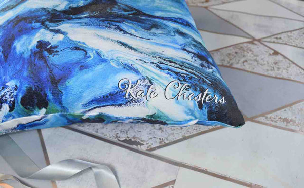 Abstract Art Cushion Cover - Coastal Blue Home Decor - Beach House