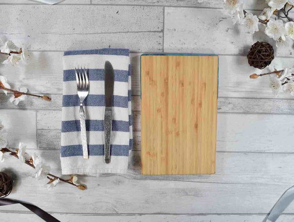 Bamboo Cutting Board with Ocean Blue Resin Art 24cm