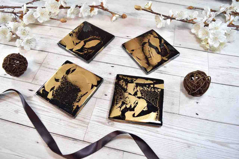 Black Gold Coasters for Drinks - Resin Art Home Decor
