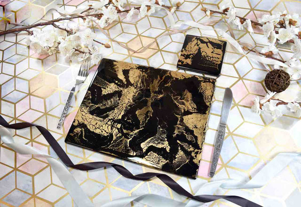 Black Gold Resin Art Placemats and Coasters Dining Set