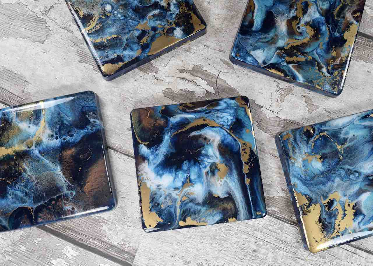 Blue Bronze Gold Abstract Art Drinks Coasters - Luxury Home Decor - Coastal Beach House