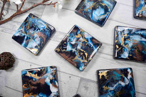 Blue Bronze Gold Abstract Art Drinks Coasters