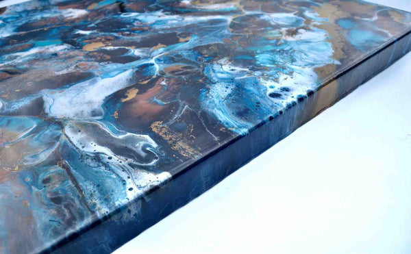Abstract Wall Art Painting in Blue Bronze and Gold - Resin Art on Canvas