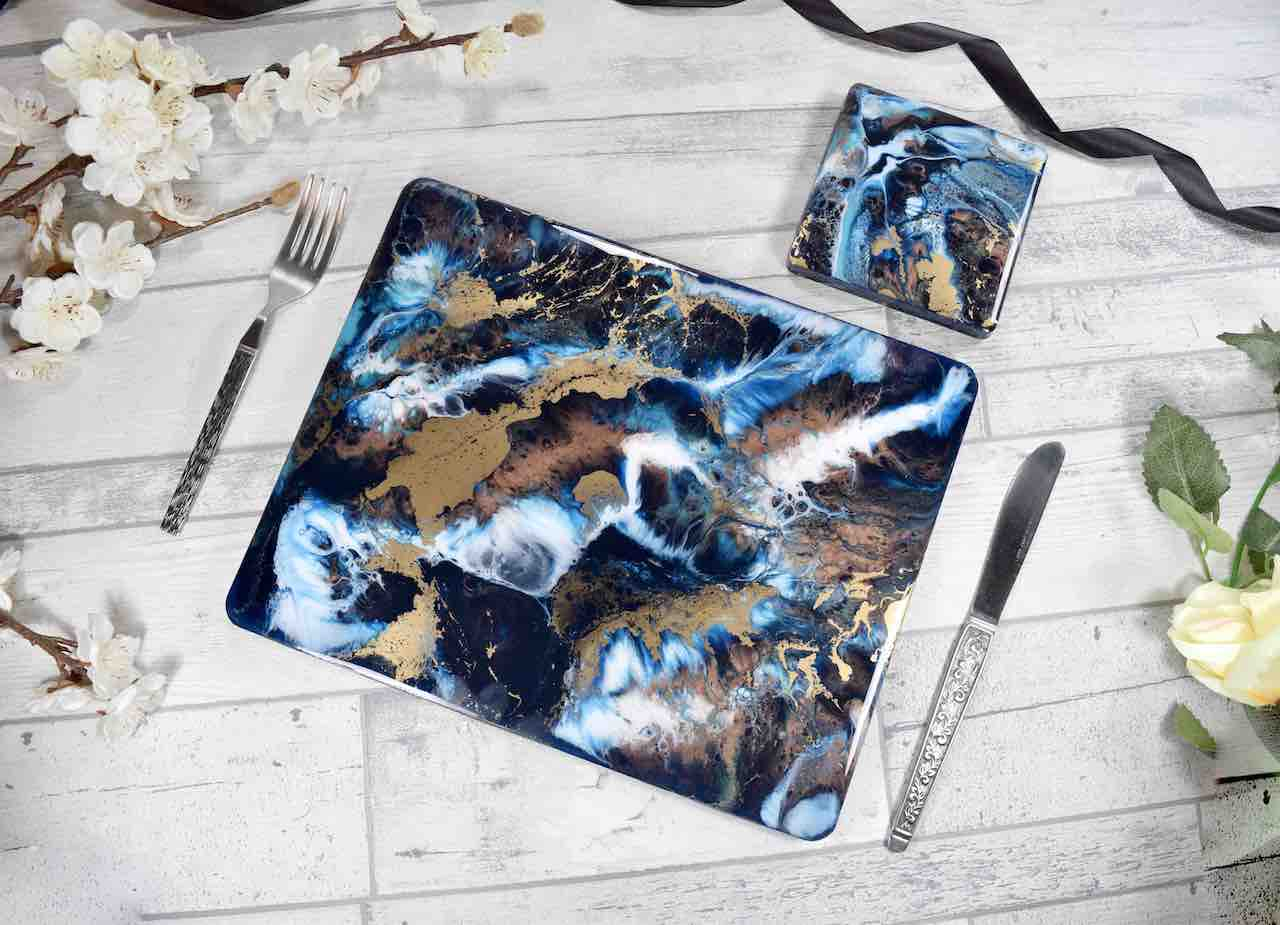 Blue Gold Bronze Resin Art Placemats Set