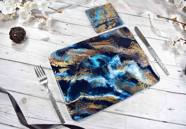 Blue Gold Bronze Resin Art Placemats SetBlue Gold Bronze Resin Art Placemats Set