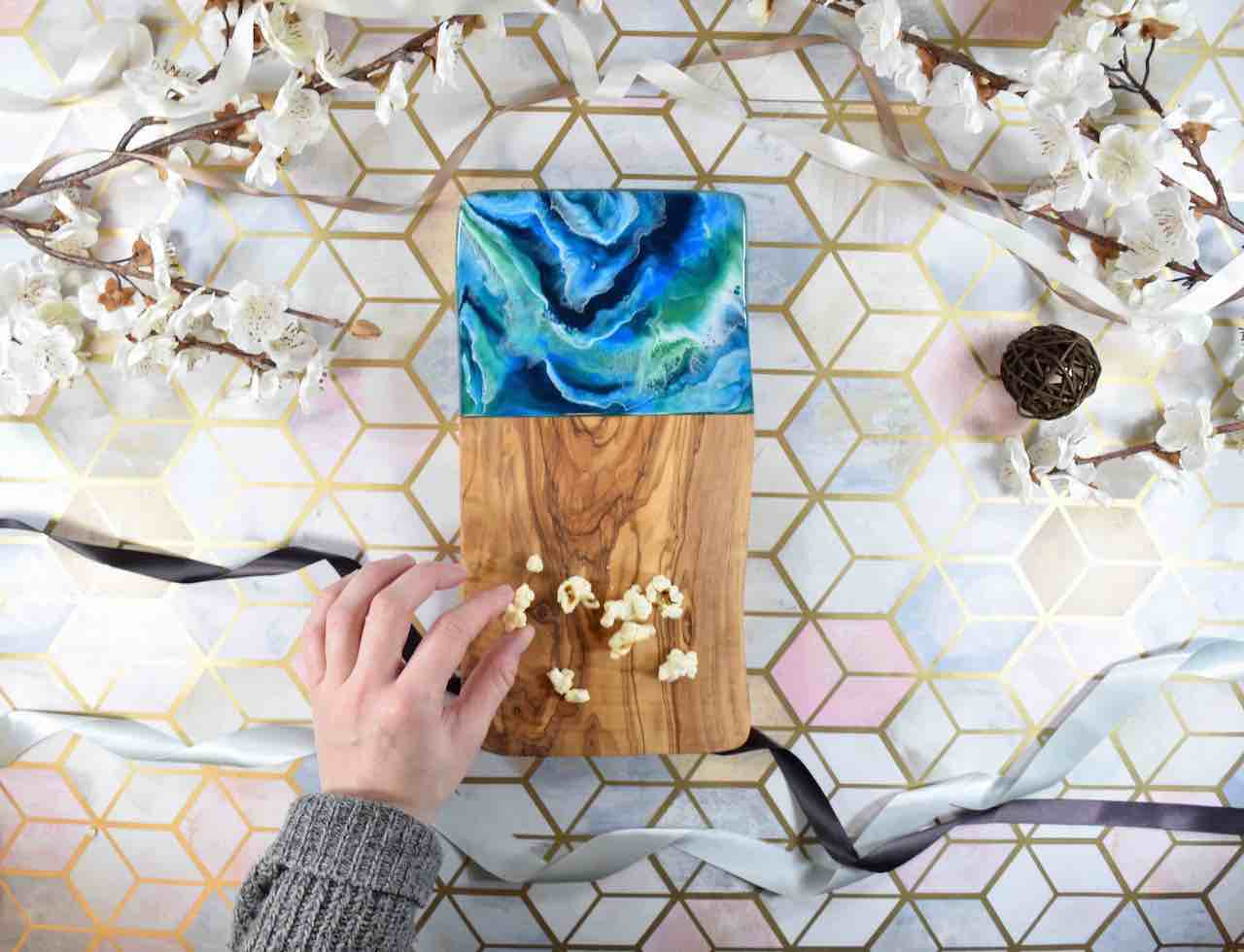 Rustic Olive Wood Cutting Board 30cm | Ocean Blue Green Resin Art