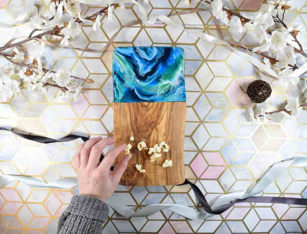 Chopping Board with Blue Resin Art 30cm - Wobbly - Coastal Decor - Ocean Beach House
