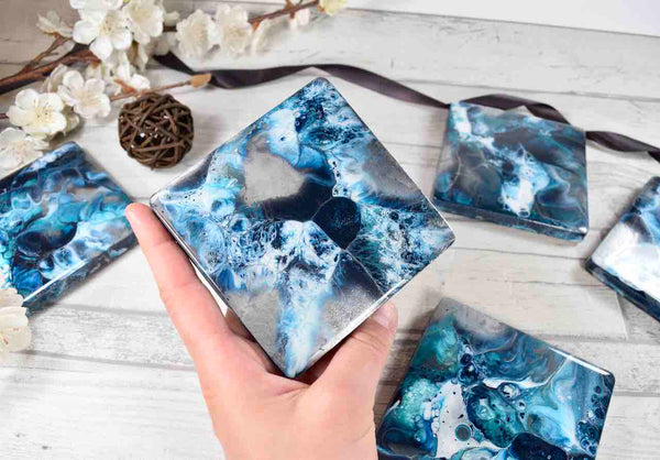 Blue Silver Resin Art Drinks Coasters