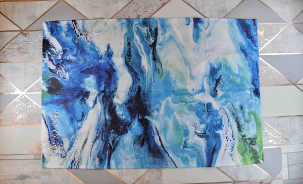 Blue Cotton Tea Towel with Abstract Art Print