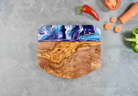 Cheese Board Gift with Purple Resin Art 21cm