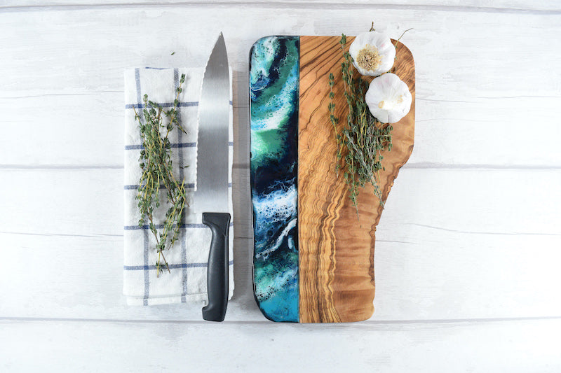 Cheese Board with Blue Green Resin Art  - 5th Wedding Anniversary Wood Gift