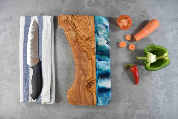 Cheese Board with Blue Green Resin Art 30cm