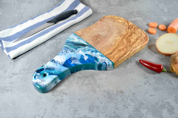 Serving Board with Handle - Blue Green Ocean Resin Art 33cm