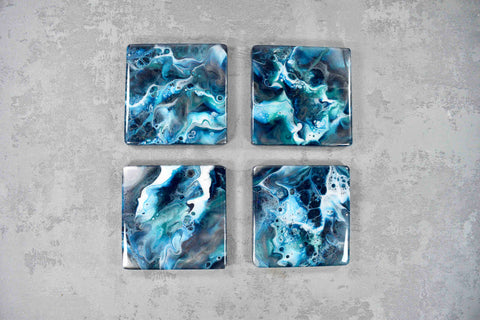 Blue Teal Silver Resin Art Drinks Coasters