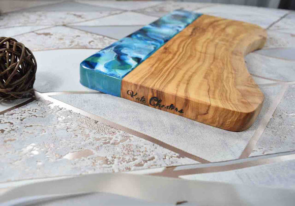 Ocean Resin Art Cheeseboard 30cm - (Does Not Sit Flat - Slight Wobble To Board)