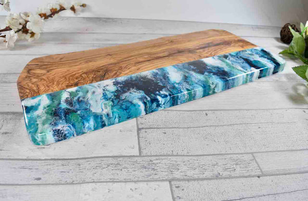 Large Charcuterie Serving Board 50cm - Rustic Olive Wood with Resin Art