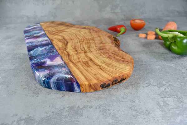 Large Purple Resin Art Olive Wood Cutting Board 40cm