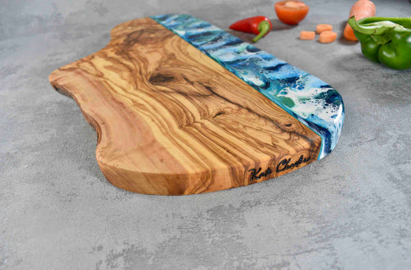 Large Rustic Olive Wood Board with Ocean Blue Resin Art 40cm