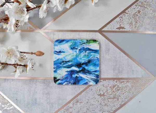 Melamine Coaster Set with Ocean Blue Abstract Art - Beach House - Coastal Home Decor