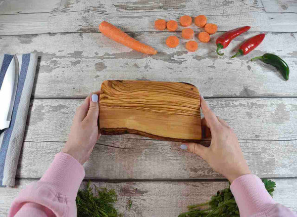Natural Olive Wood Board with Rustic Edge 20cm - Wobbly Board - Fruit Vegetable Cutting Board