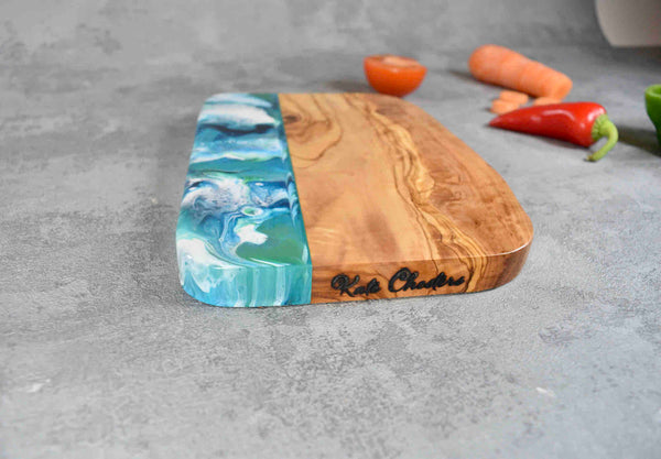 Olive Wood Board with Blue Green Resin Art 20cm