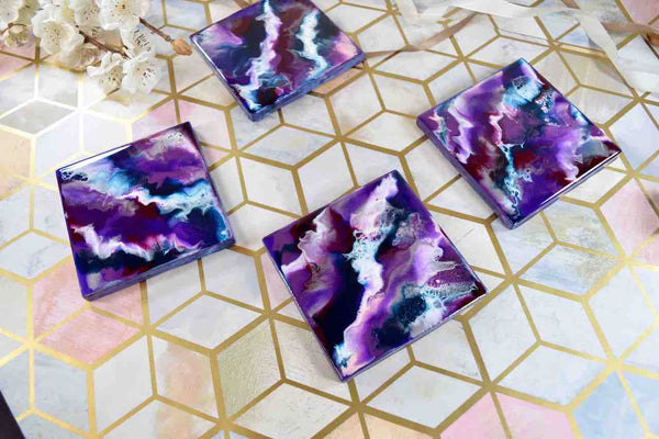 Purple Drinks Coasters Resin Art - Unique Wedding Present Ideas