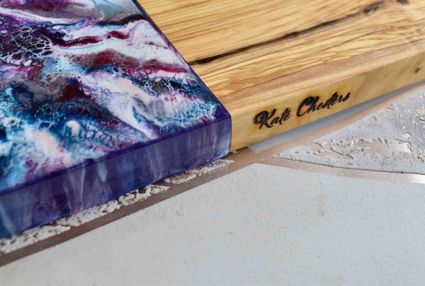 Purple Resin Art Olive Wood Cutting Board 30cm