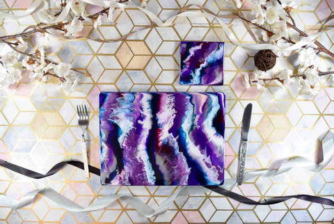 Purple Resin Art Placemats and Drinks Coasters - Colourful Home Decor Lavender Lilac
