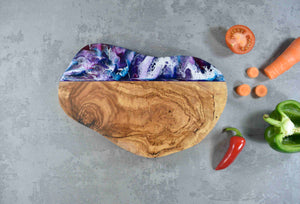 Rounded Purple Resin Art Olive Wood Cheese Board 30cm