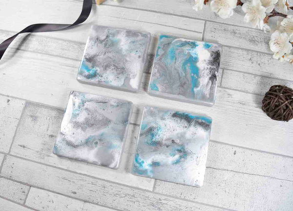 Silver Grey Drinks Coasters - Resin Art with Turquoise Streak