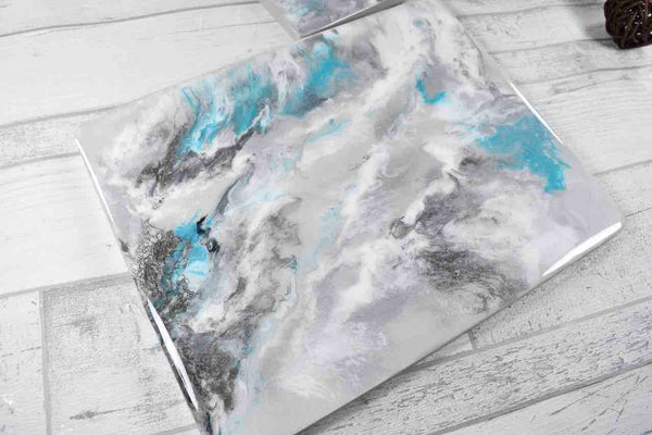 Silver Grey Placemats and Coasters for Dining Table - Resin Art with Turquoise Streak