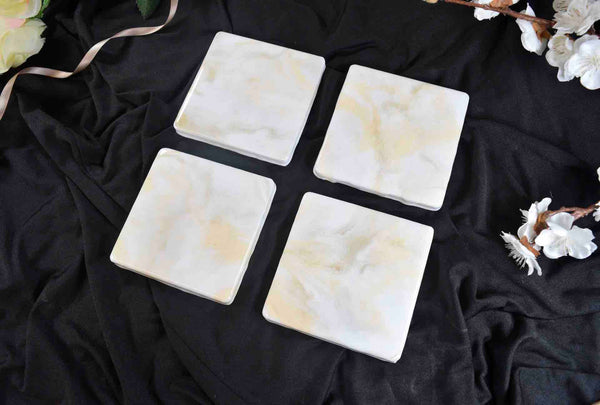 White Cream Gold Drinks Coasters Set