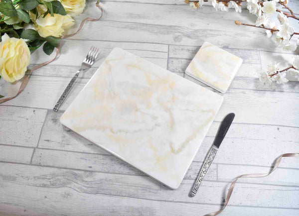 White Cream Gold Placemats and Coasters Set