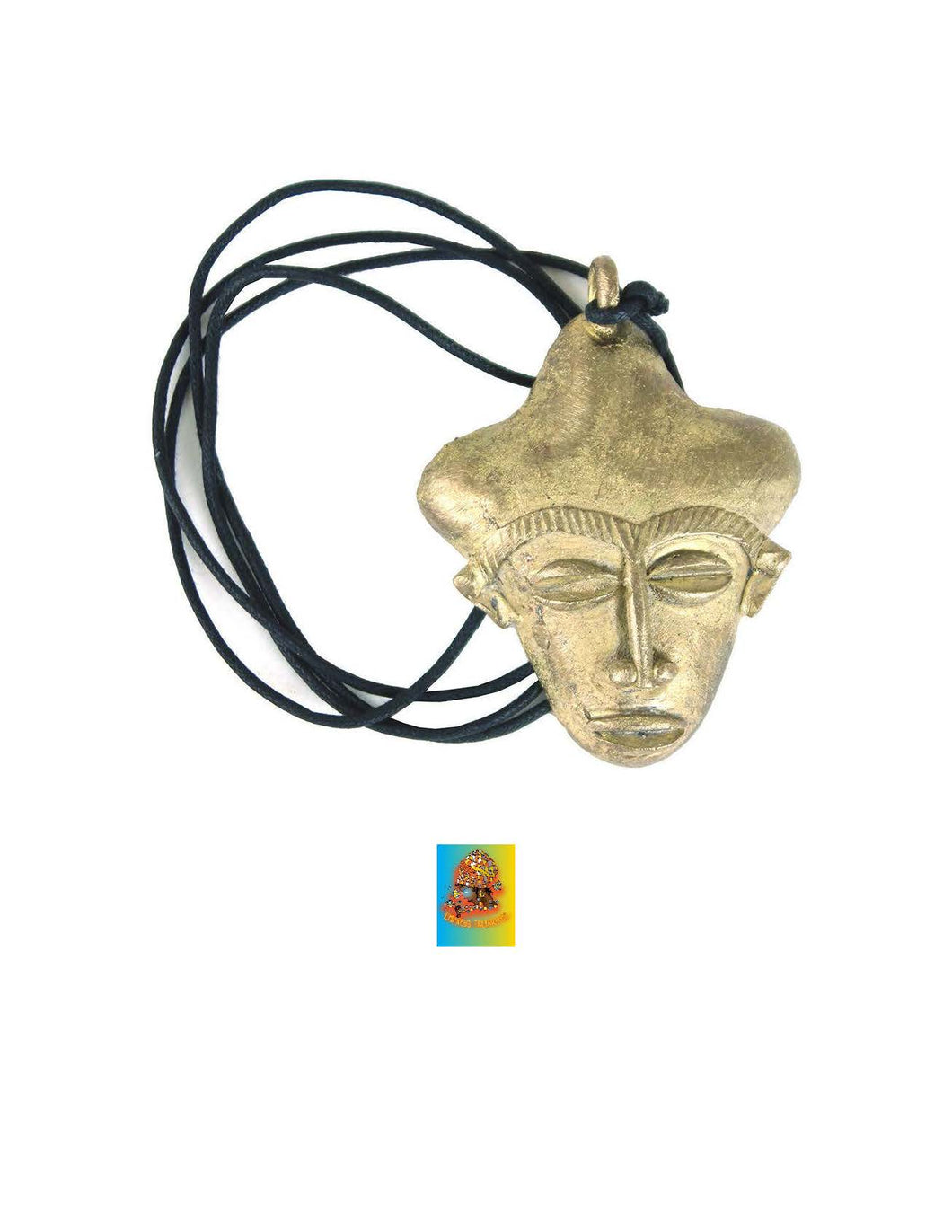 Brass Ghanaian Mask Necklace