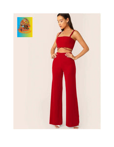 Knot Back Crop Top & Flare Leg Pants Set