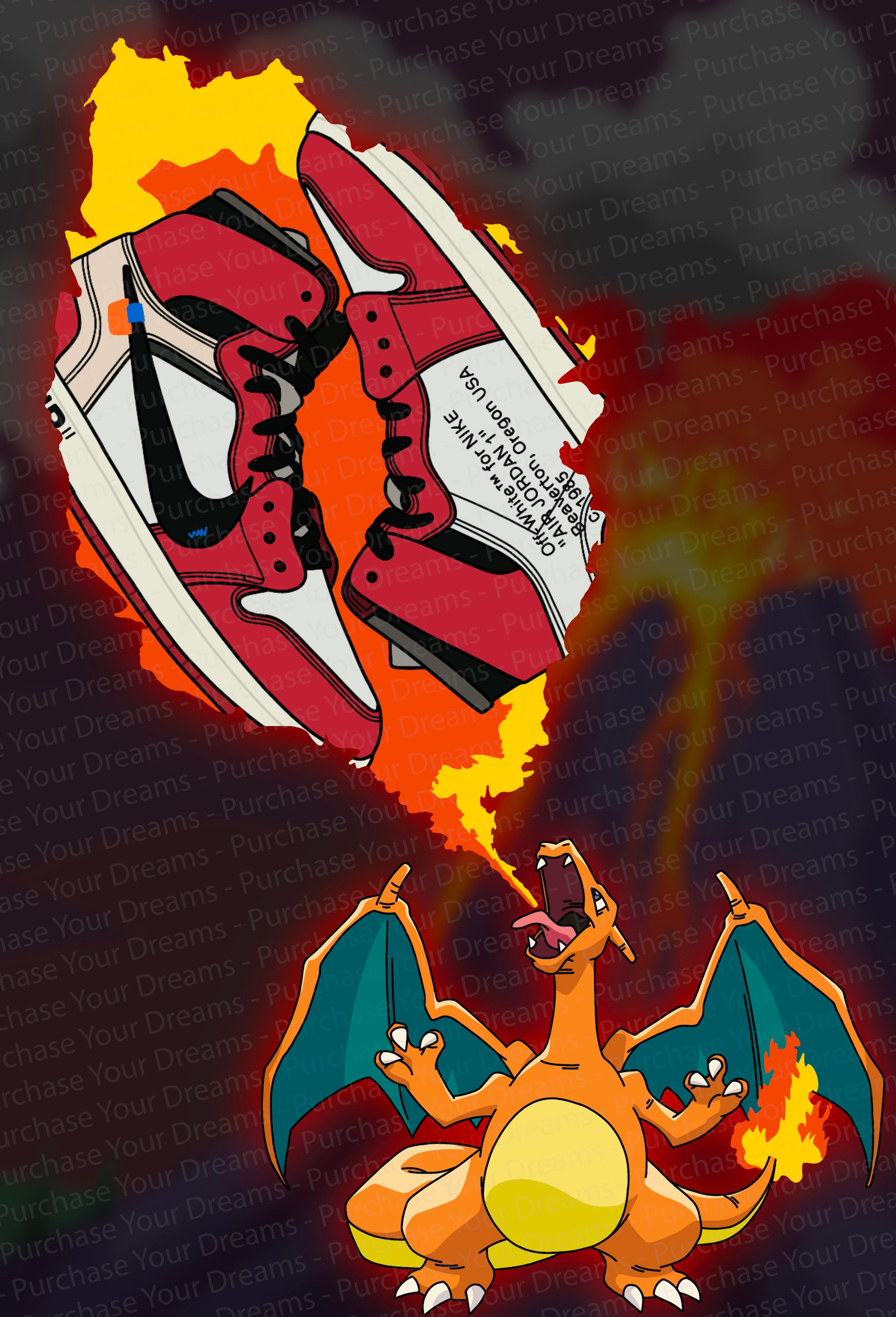 Illustration - Pokemon x Off-White - Dracaufeu