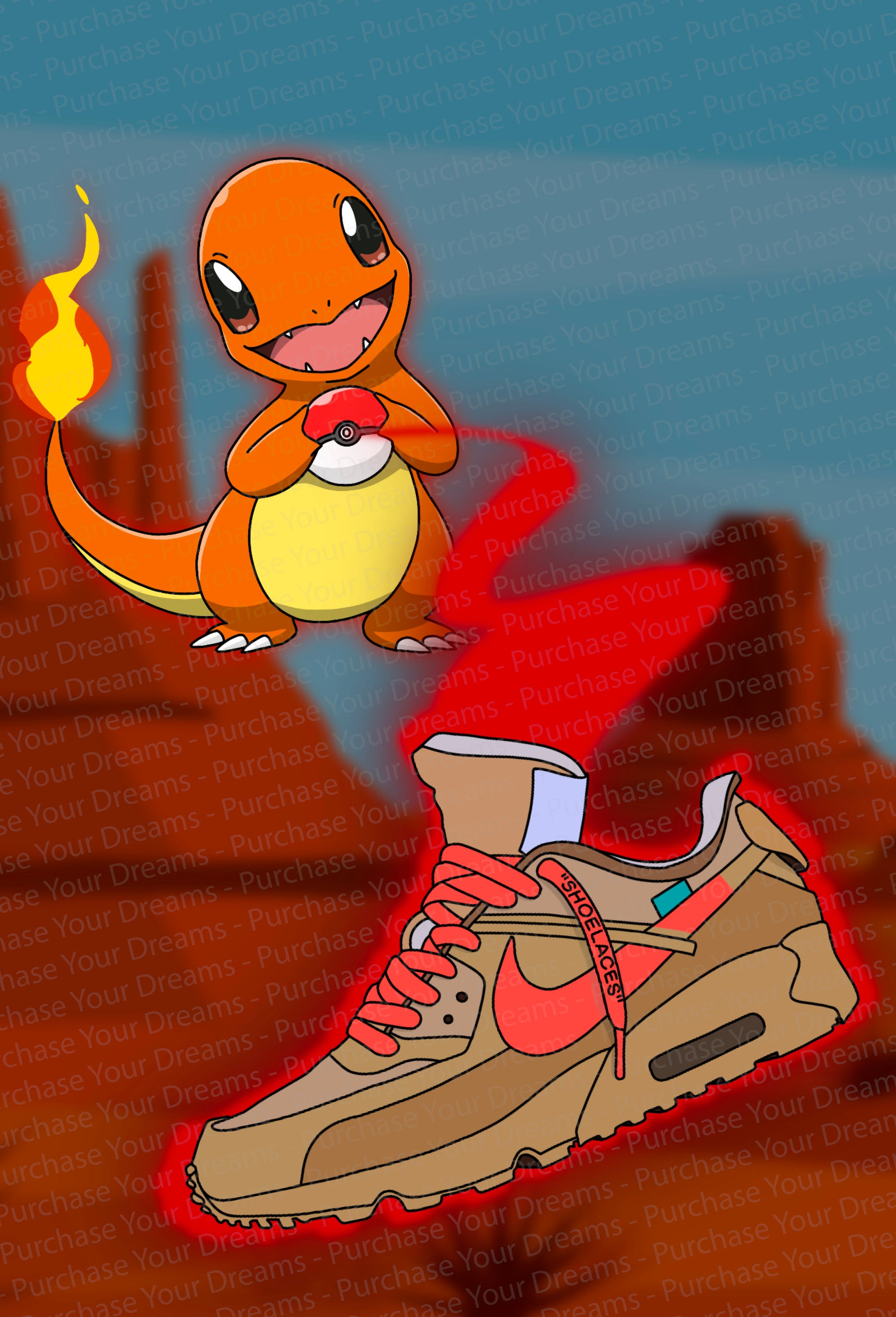 Illustration - Pokemon x Off-White - Salamèche