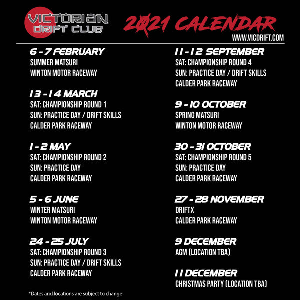 2021-VicDrift-Calendar-Drift-Events