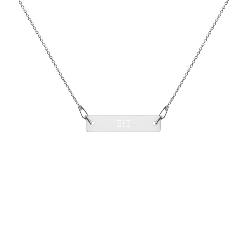 """CEO"" Engraved Silver Bar Chain Necklace"