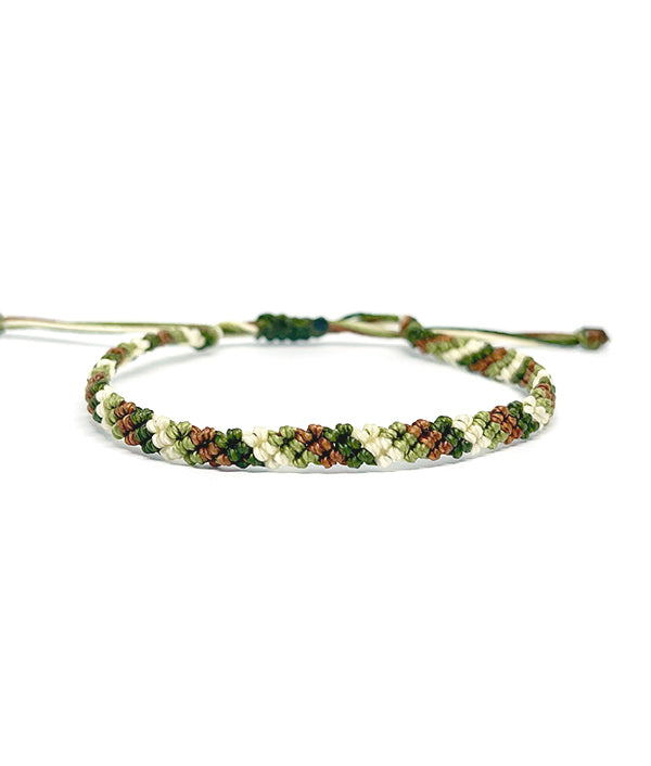 MACRAME WAXED BRACELET MILITARY GREEN