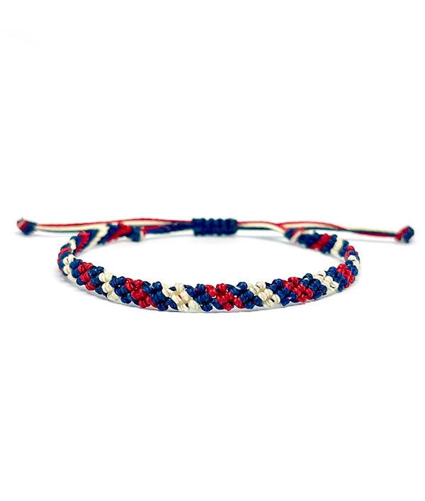 MACRAME WAXED BRACELET RED AND BLUE