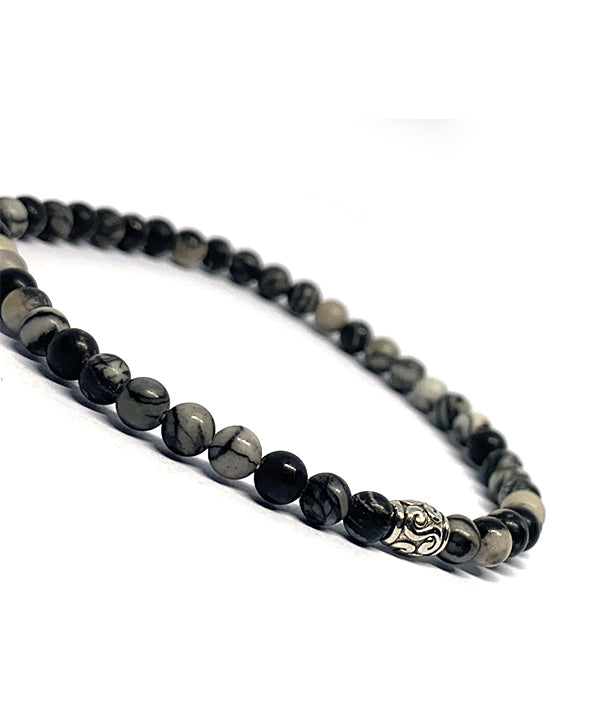 4 MM ANTIQUE CHARM BLACK/GREY MARBLE
