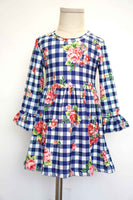 Blue plaid flora bell sleeve dress CXQ-012474 sale