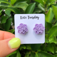 Succulent Flower Stud Earrings - Violet