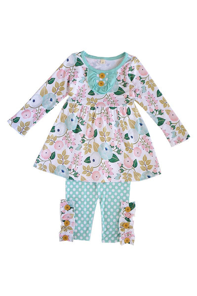 Green pink floral polkadot girls set 150292