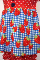 Strawberry gingham red polkadot ruffle shorts set 150310
